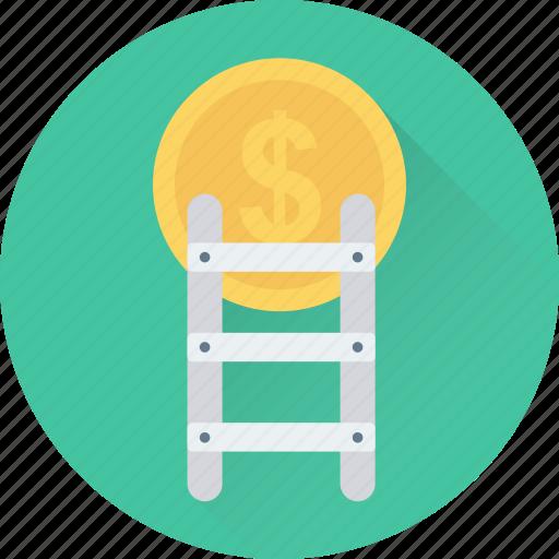 dollar, finance, income, ladder, profit icon
