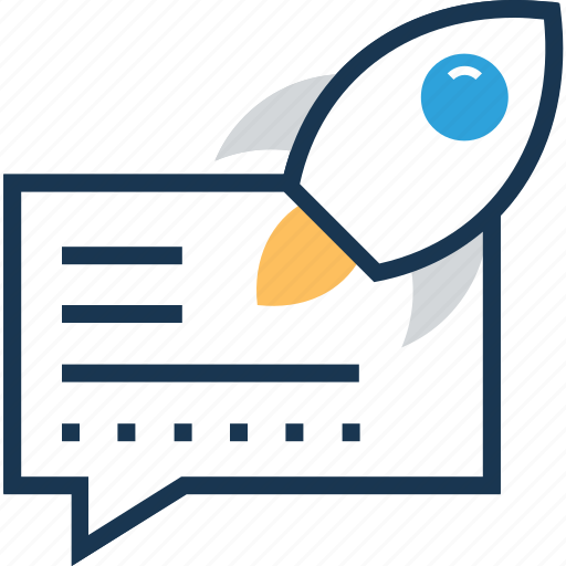 chat, instant message, rocket, startup, write message icon