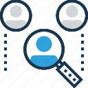 candidate, find employee, find user, magnifying, recruitment icon