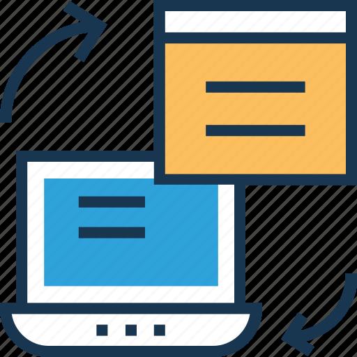 data, data interchange, data sharing, data transfer, data transform icon