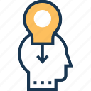 generate idea, idea, idea develop, interference, personal solution icon