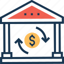 currency exchange, exchange office, exchange shop, money conversion, money exchange icon