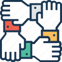 business, collaboration hands, companionship, cooperation, teamwork icon