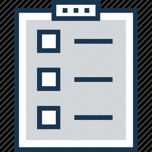 checklist, clipboard, memo, task, to do icon