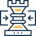 check rook, chess, chess pawn, development, technology icon