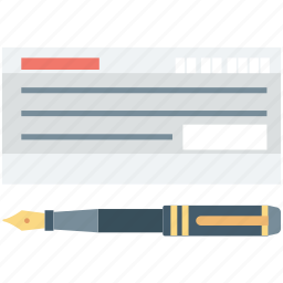 cheque, pen, receipt, signature, voucher icon
