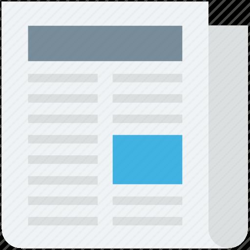 article, journal, newspaper, newsprint, print media icon