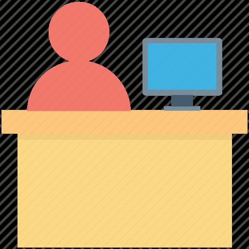 clerk, front desk, help desk, information desk, reception icon