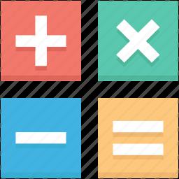 equals to, mathematical symbols, minus, multiply, plus icon