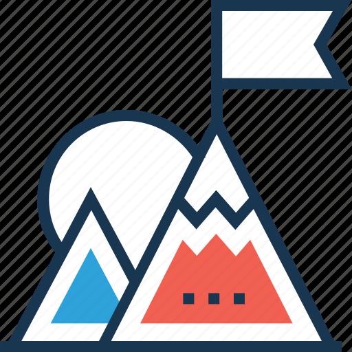 achievement, mission, mountain, peak, success icon