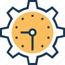 cog, schedule, settings, time management, timer icon