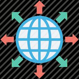 around the world, arrows, globe, international, worldwide icon