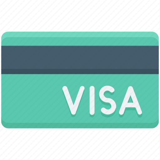 bank card, cash card, credit card, plastic money, visa card icon