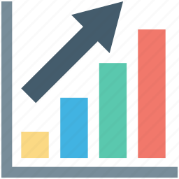 ascending chart, bar chart, bar graph, growth chart, progress chart icon