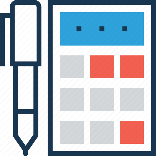accounting, budget, calculating device, calculator, pencil icon