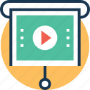 easel, easel board, projection screen, video, video lecture icon