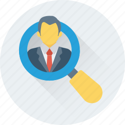 find person, human resource, magnifier, search user, user icon