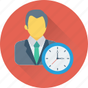 businessman, clock, man, timer, watch icon
