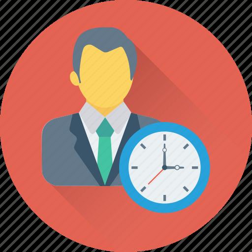 businessman, clock, man, timer, watch icon