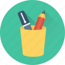 office supplies, pen cup, pencil case, pencil holder, pencil pot icon