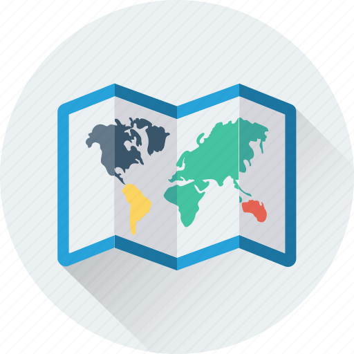 geography, map, navigation, travel, unfolded map icon