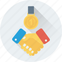 business partners, businessmen, deal, medal, partner icon