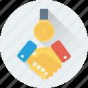 partner, business partners, medal, businessmen, deal