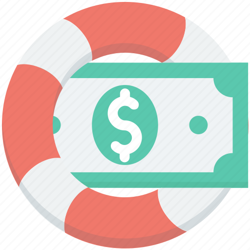 banknote, currency note, dollar note, life ring, paper money icon