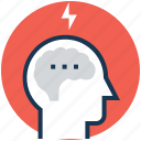 brainstorming, brainwash, idea, idea develop, thunder icon