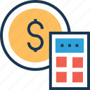 accounting, calculating device, calculator, currency, currency accounting icon
