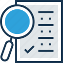 find plan, find strategy, magnifying, paperwork, strategic research icon