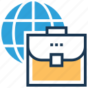 briefcase, global business, globe, portfolio, worldwide