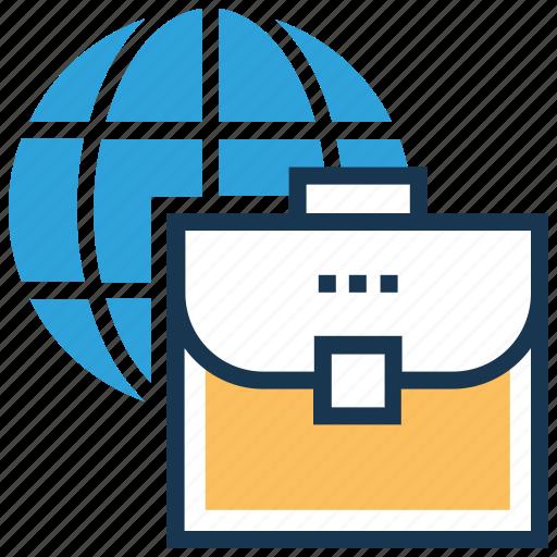briefcase, global business, globe, portfolio, worldwide icon