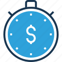 chronometer, dollar, stopwatch, time counter, time is money icon