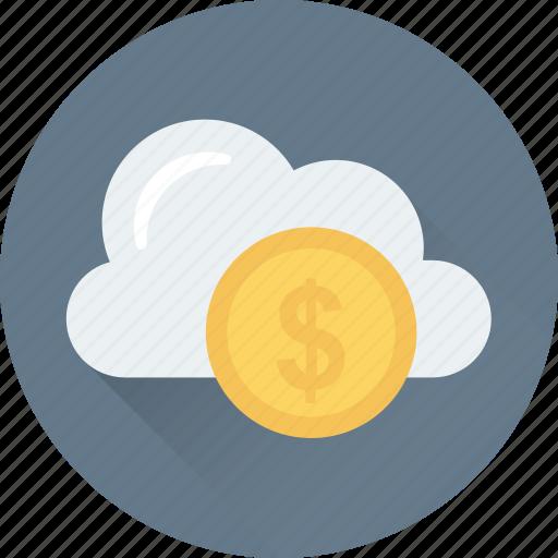 business, cloud, dollar, online business, online work icon