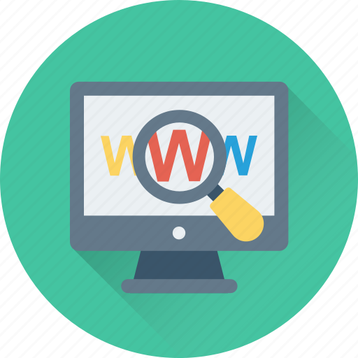 magnifying, search domain, url, website, www icon