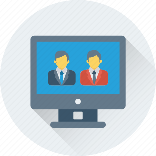 communication, monitor, video call, video chat, video conference icon