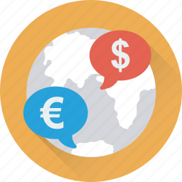 currency exchange, digital currency, euro, globe, money icon