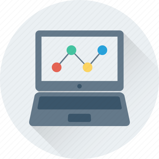 diagram, laptop, line chart, online analytics, online graph icon
