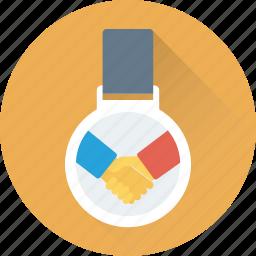 business partner, businessmen, deal, medal, partner icon