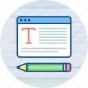 article, blog, blogging, compose, content, copywriting, pencil icon