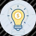 bulb, business, dollar, finance, idea, lamp, money