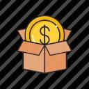 box, carton, delivery, dollar, parcel