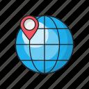 global, internet, location, map, online