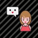emoji, female, message, notification, women