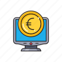 coins, euro, online, pay, screen