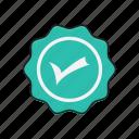 check, complete, mark, sticker, verified