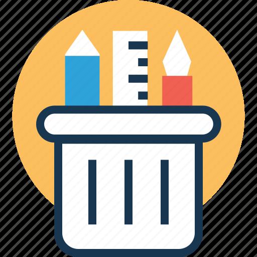 office supplies, pen cup, pencil case, pencil holder, pencil pot icon