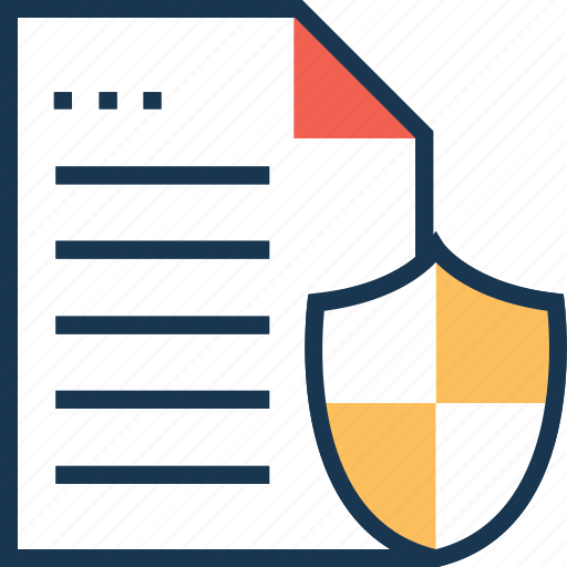 confidence documents, paper, security, security shield, text sheet icon