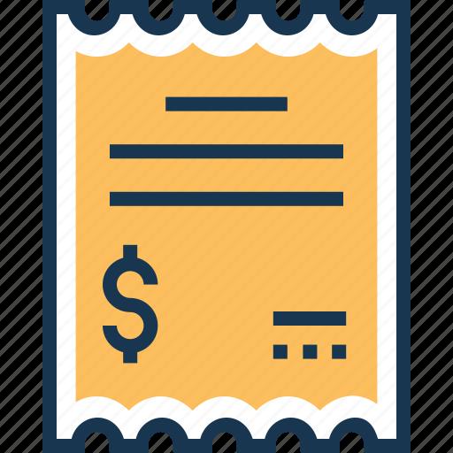 banking, bill, financial, invoice, receipt icon